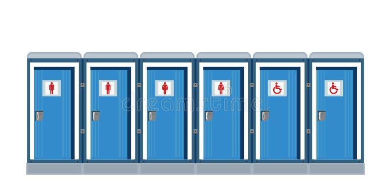Bio mobila toaletter isolerade vit en stock illustrationer