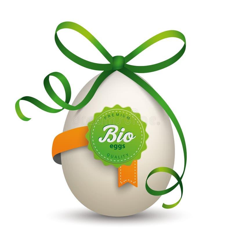 Bio- nastro di verde dell'uovo dell'etichetta royalty illustrazione gratis