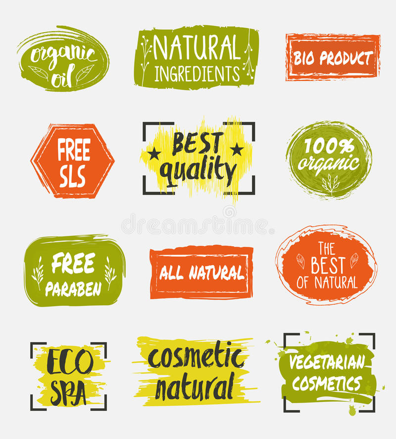 Bio and natural cosmetic product labels set. Natural organic cosmetic product labels set. Eco spa icon. Vegetarian cosmetics tag. Free sls vector illustration