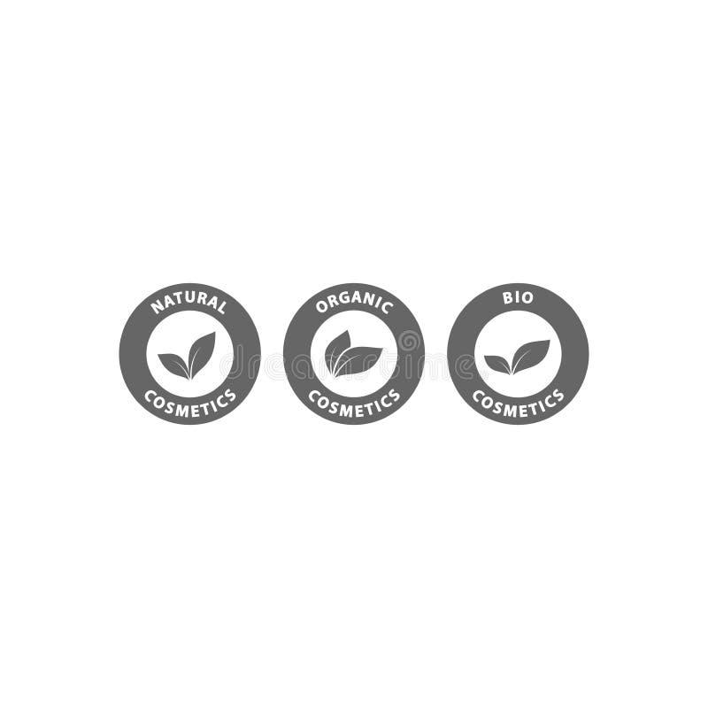 Bio, natural and organic cosmetics black circle vector badge set. Natural, organic, bio cosmetics stamp label icon set vector illustration