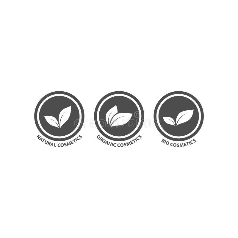 Bio, natural and organic cosmetics black circle vector badge set. Natural, organic, bio cosmetics stamp label icon set royalty free illustration