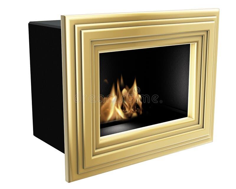 Bio open haard gouden frame stock foto