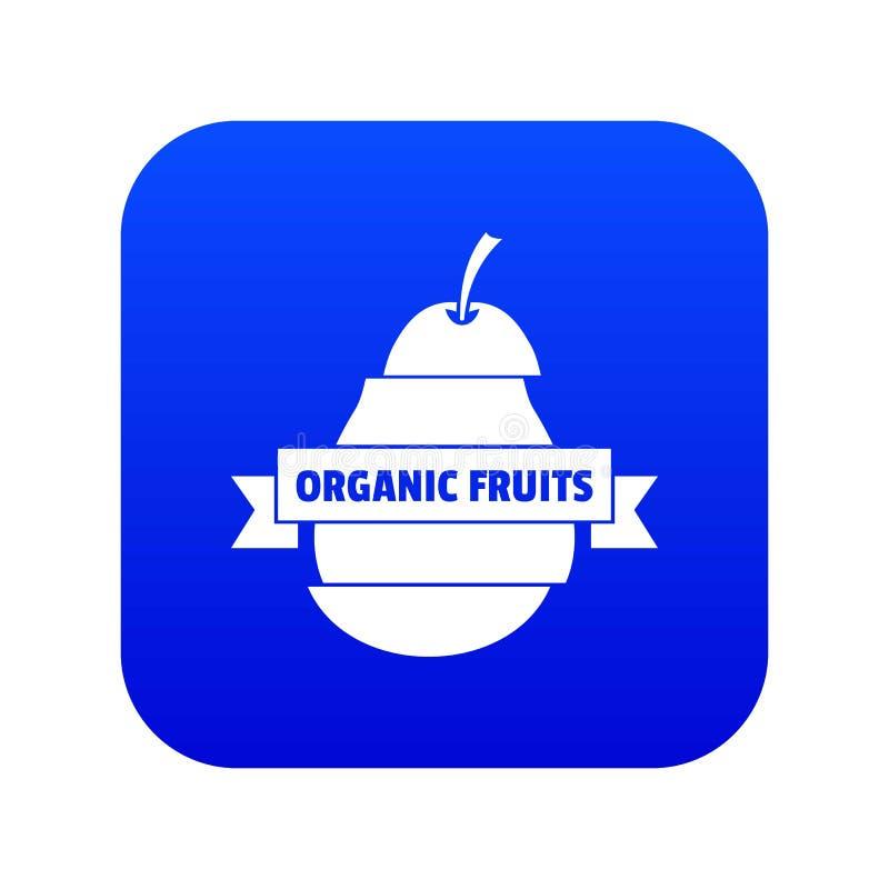 Bio organic fruits icon blue vector stock illustration