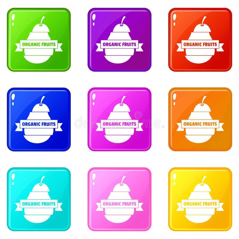 Bio organisk samling för färg för fruktsymbolsuppsättning 9 stock illustrationer