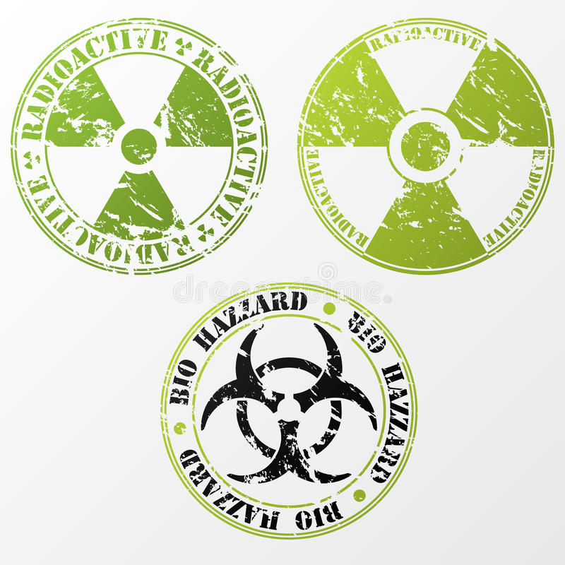 Bio perigo e jogo radioativo do selo ilustração do vetor