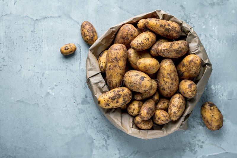 Bio pommes de terre fraîches sur le plan rapproché gris de fond photo stock
