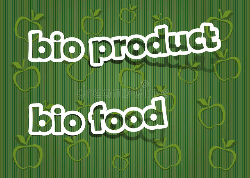 Bio product and bio food. Realistic cut, takes the background color stock illustration