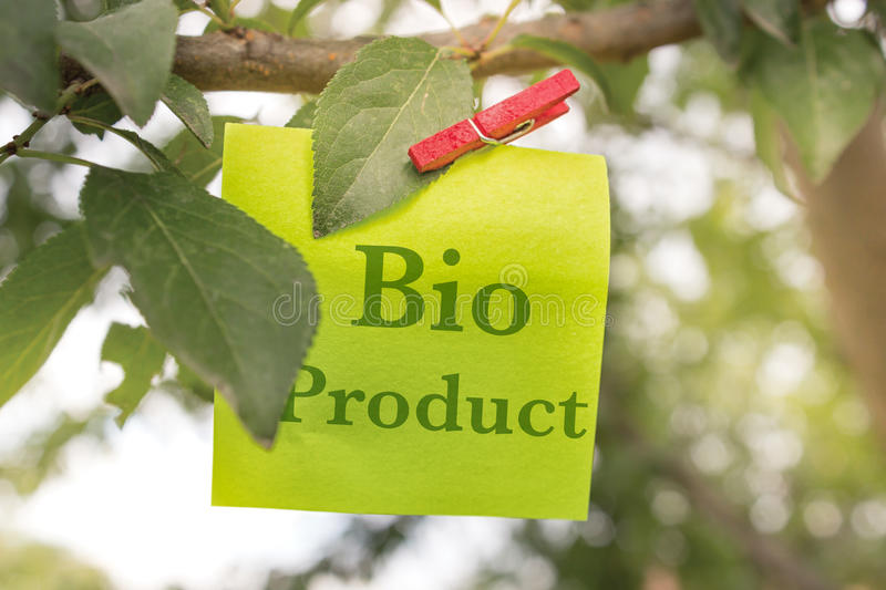 Bio Product. Concept whit note and clipper on a tree stock images