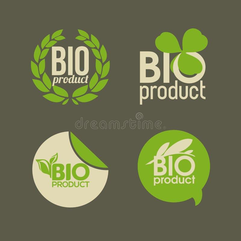 Bio producto - escrituras de la etiqueta e insignias del vector libre illustration