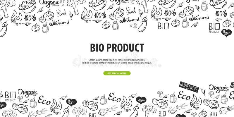 Bio produto Alimento saudável Bandeira do vegetariano fundo da garatuja da Mão-tração Ilustração do vetor ilustração royalty free