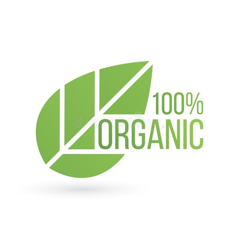Bio produto, eco emblema orgânico da folha de 100 por cento, etiqueta ou logotipo Ilustração do vetor isolada no fundo branco ilustração royalty free