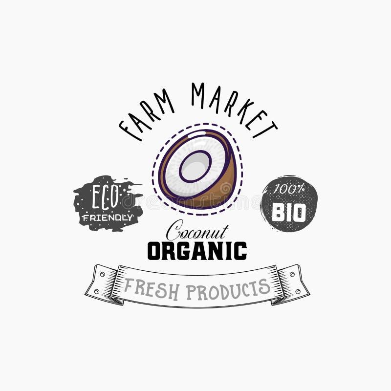 Bio produtos da etiqueta e do eco Elemento da Web do coco, vetor isolado ilustração royalty free