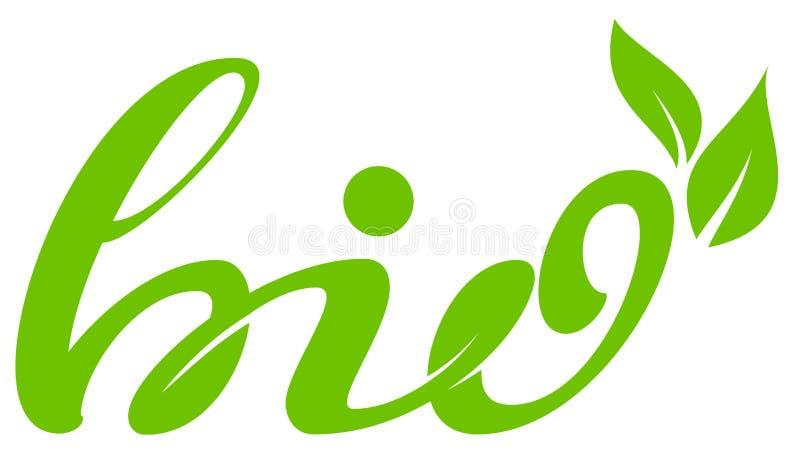 Bio símbolo da saúde das folhas do verde da etiqueta do texto ilustração do vetor
