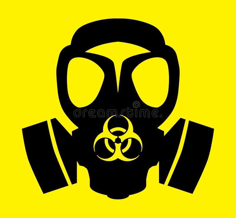 Bio símbolo de la careta antigás del peligro stock de ilustración