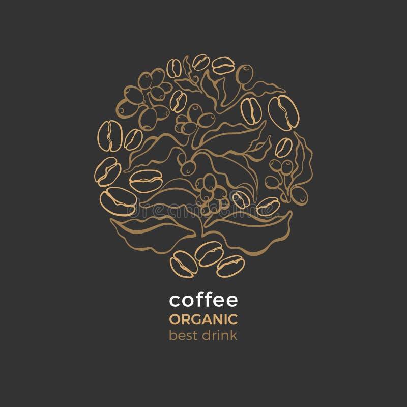 Bio símbolo do vetor Árvore de café natural ilustração do vetor