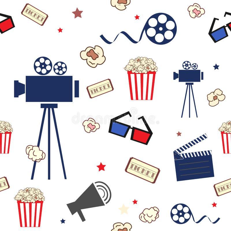 bio Sömlös modell med filmbeståndsdelar i plan stil Kamera, biljetter, popcorn, exponeringsglas och annat stock illustrationer