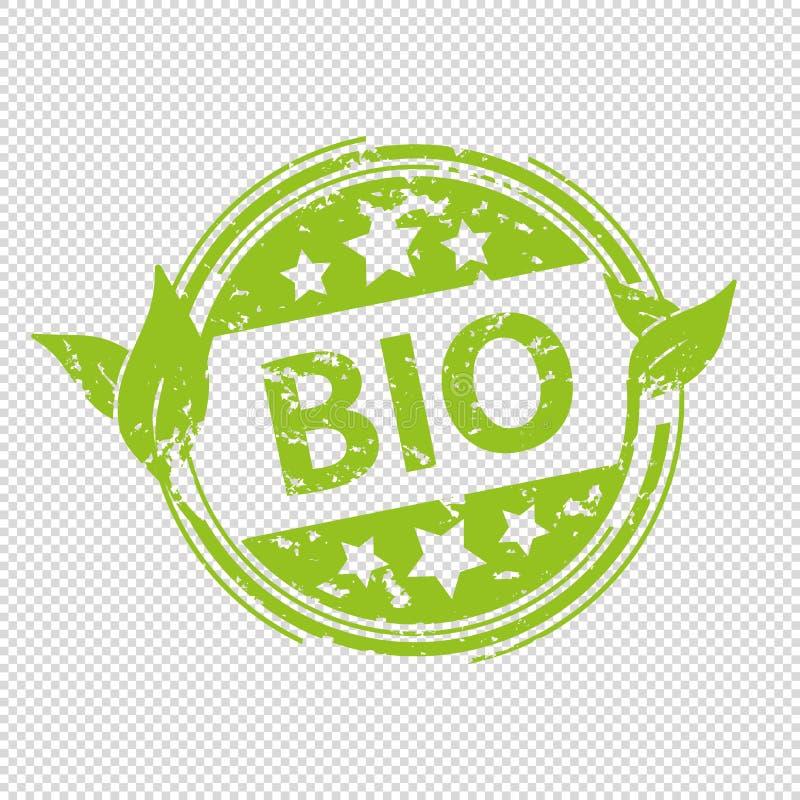 Bio selo do carimbo de borracha - ilustração verde do vetor - isolado no fundo transparente ilustração do vetor