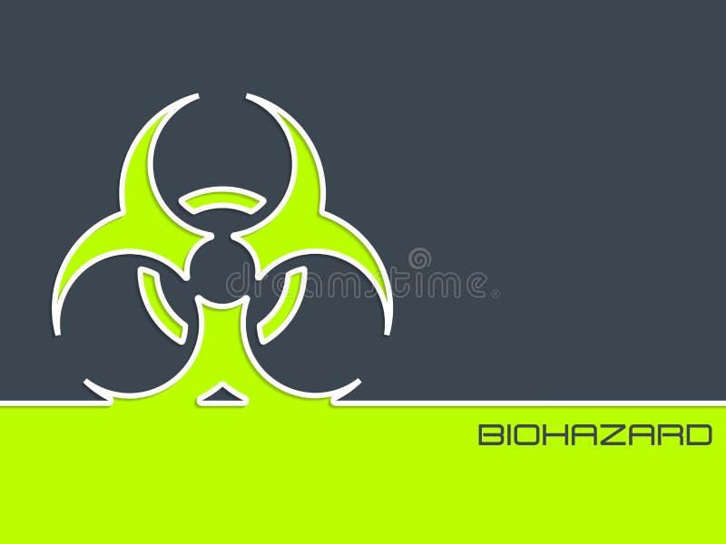 Bio sinal do hazzard no fundo de 2 cores com listra branca ilustração stock