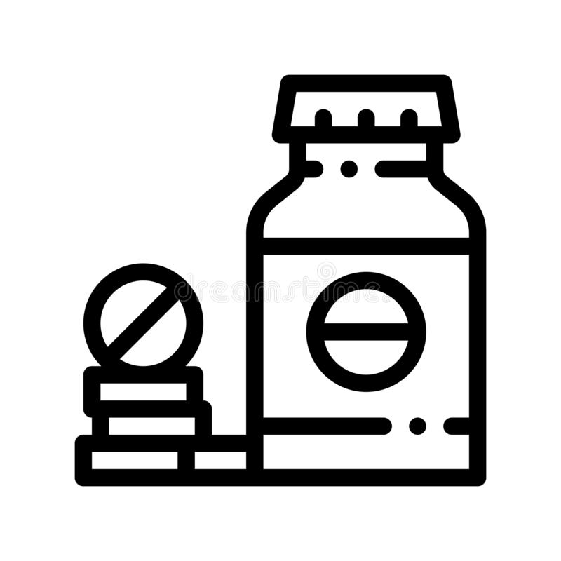 Bio Supplements Drugs Bottle Vector Thin Line Icon. Sportsman Plastic Container With Healthy Balancer Drugs Linear Pictogram. Dietary Protein Ingredient, Bar vector illustration