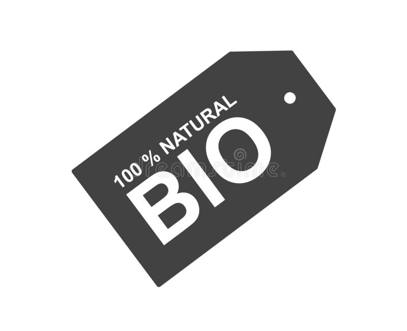 Bio tag sign in black and white. Flat design icon. Natural ingredients. royalty free illustration