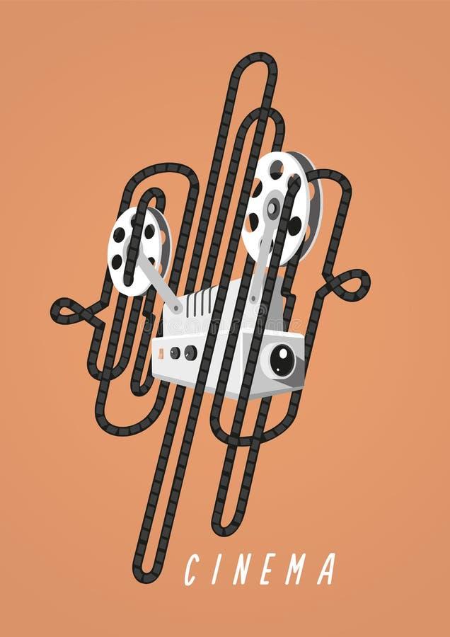 bio Tappningaffisch med den filmprojektorn och filmen vektor illustrationer