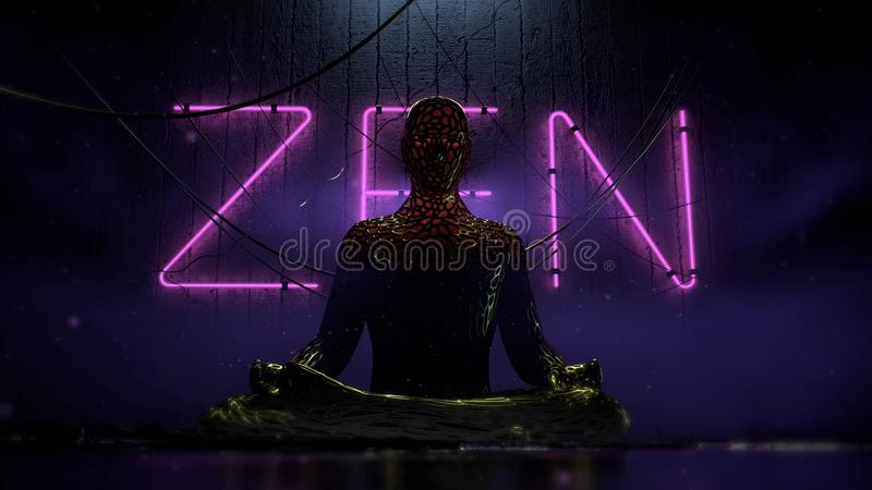 Bio tech cyberpunk human figure sitting in lotus on urban futuristic background with hanging wires and purple neon vector illustration