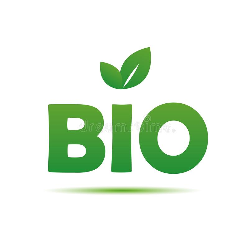 Bio- tipografia con le foglie verdi per alimento sano su backg bianco royalty illustrazione gratis