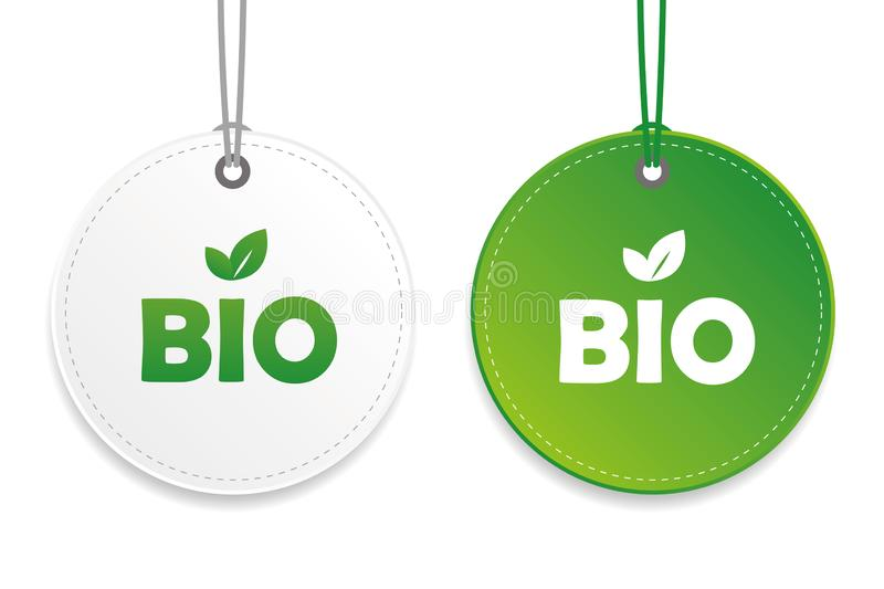 Bio typography organic food tag and label green and white design elements isolated on a white background royalty free illustration