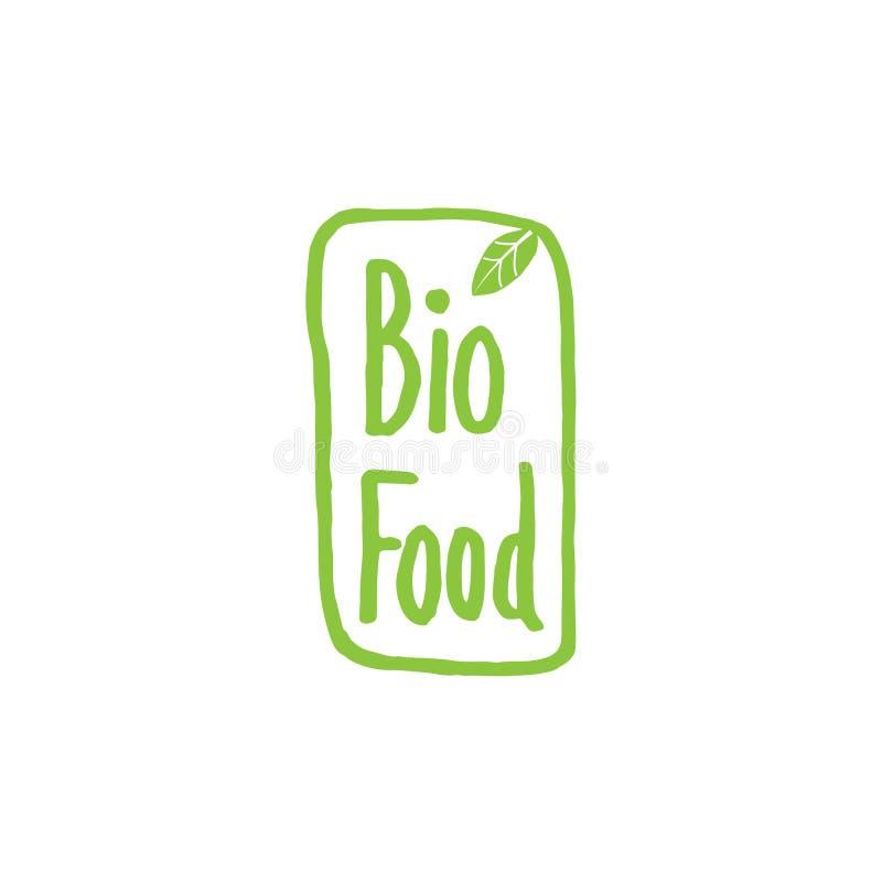 Bio vector del logotipo del producto Icono del alimento biológico Cultive la escritura de la etiqueta fresca ilustración del vector