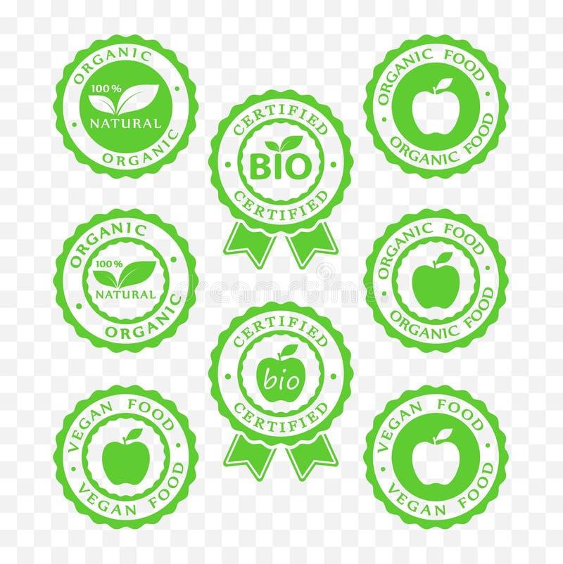 Bio, vegan, organic food and products icon set, bio, vegan, organic packaging sticker symbols. Bio, vegan, organic food and products icon set, bio, vegan stock illustration