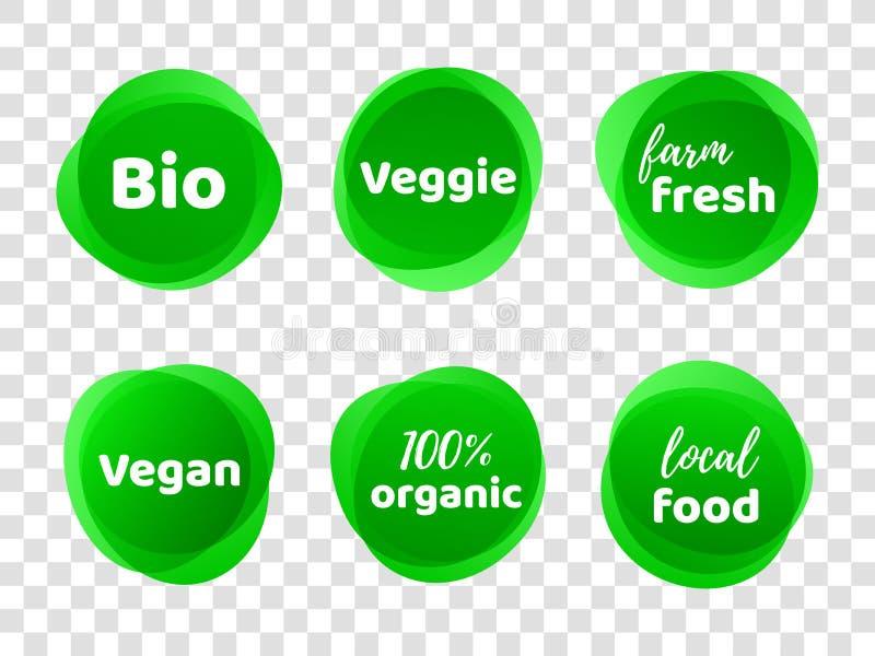 Bio veggie farm vegan 100 organic vector labels vector illustration