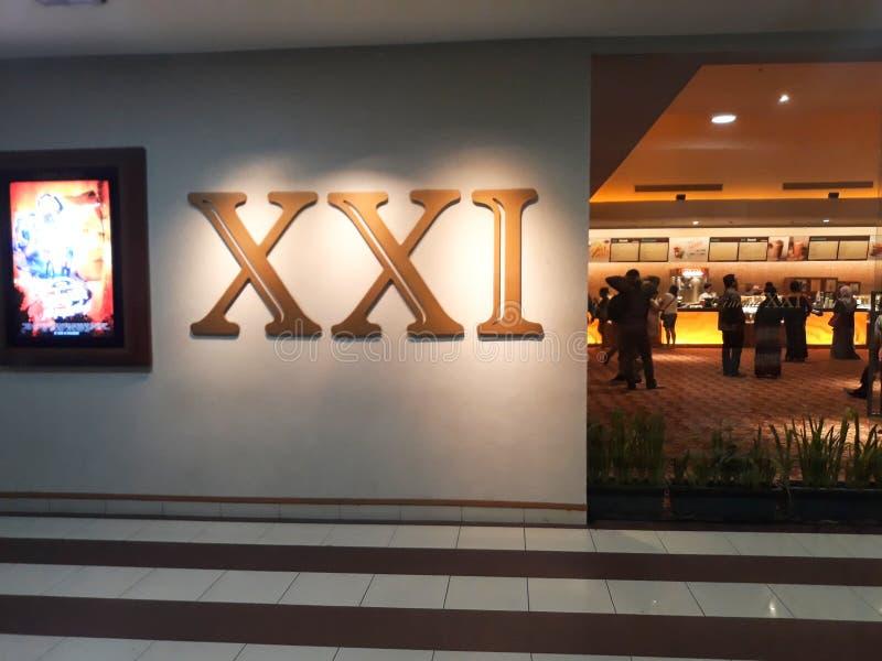 Bio XXI inom en shoppinggalleria 21 bior ?r den andra - st?rsta biokedjan i Indonesien arkivbilder