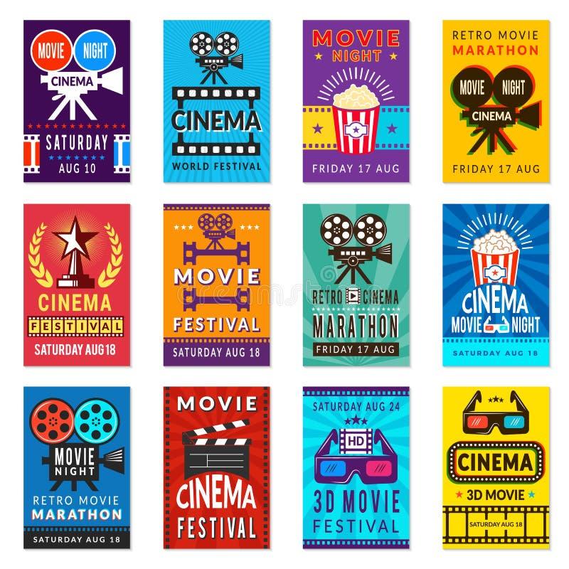 Bioaffisch Filmer för kort för tappningfilm affischerar retro vektorbakgrundssamlingen stock illustrationer