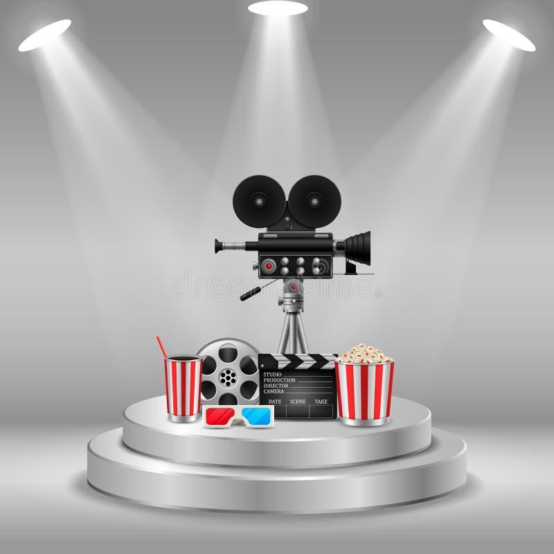 Biobegrepp med uppsättningen för beståndsdelar för filmteater av filmrullen, clapperboard, popcorn, 3d exponeringsglas, kamera stock illustrationer
