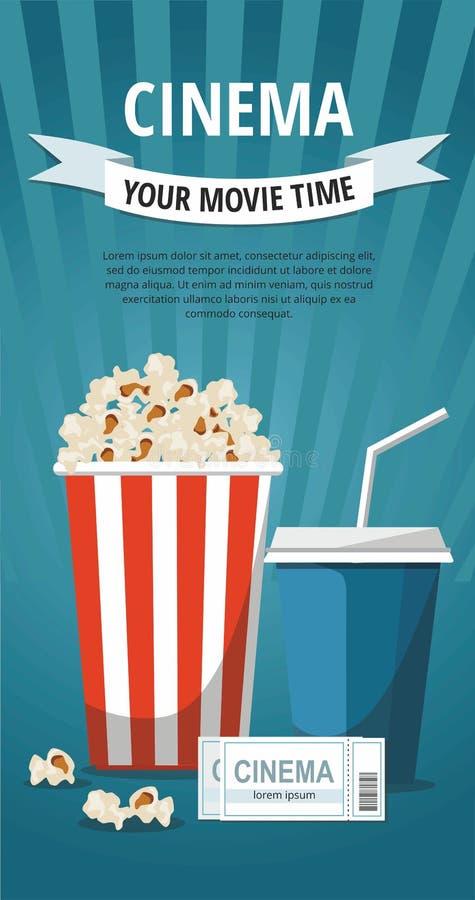 Biobegreppsaffisch med den popcornbunken, drinken och biljetter som isoleras på blå bakgrund vektor illustrationer