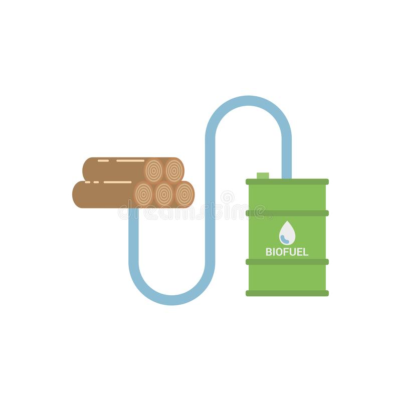 Biobränsle - biomassaEthanol som göras från journaler stock illustrationer
