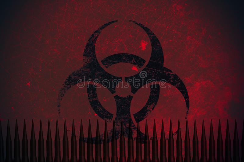 Biochemical missile bomb with Bio hazard sign. Concept stock illustration