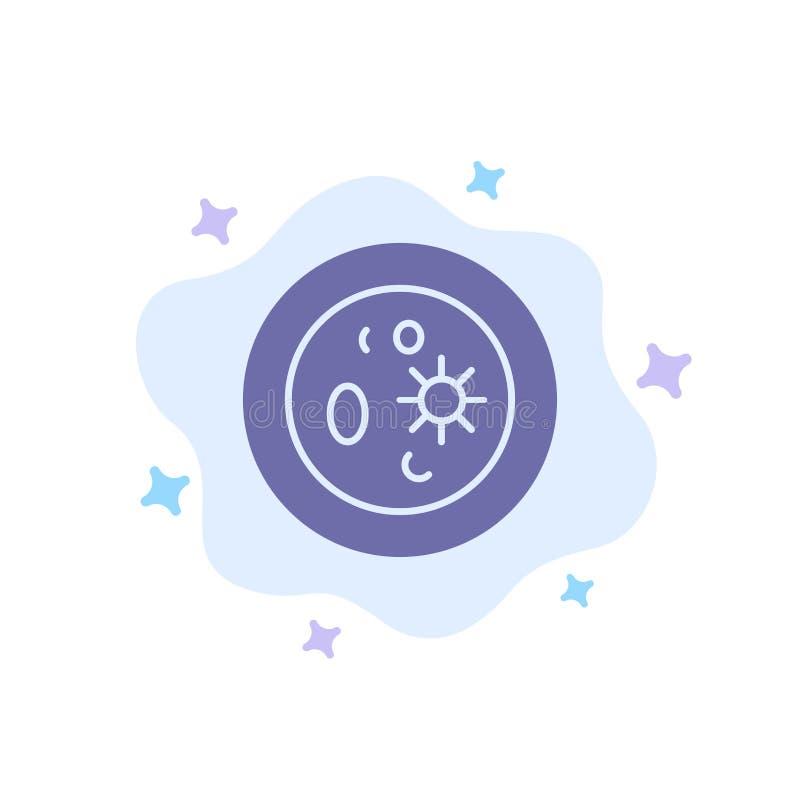 Biochemie, Biologie, Chemie, Teller, Laborblaue Ikone auf abstraktem Wolken-Hintergrund vektor abbildung