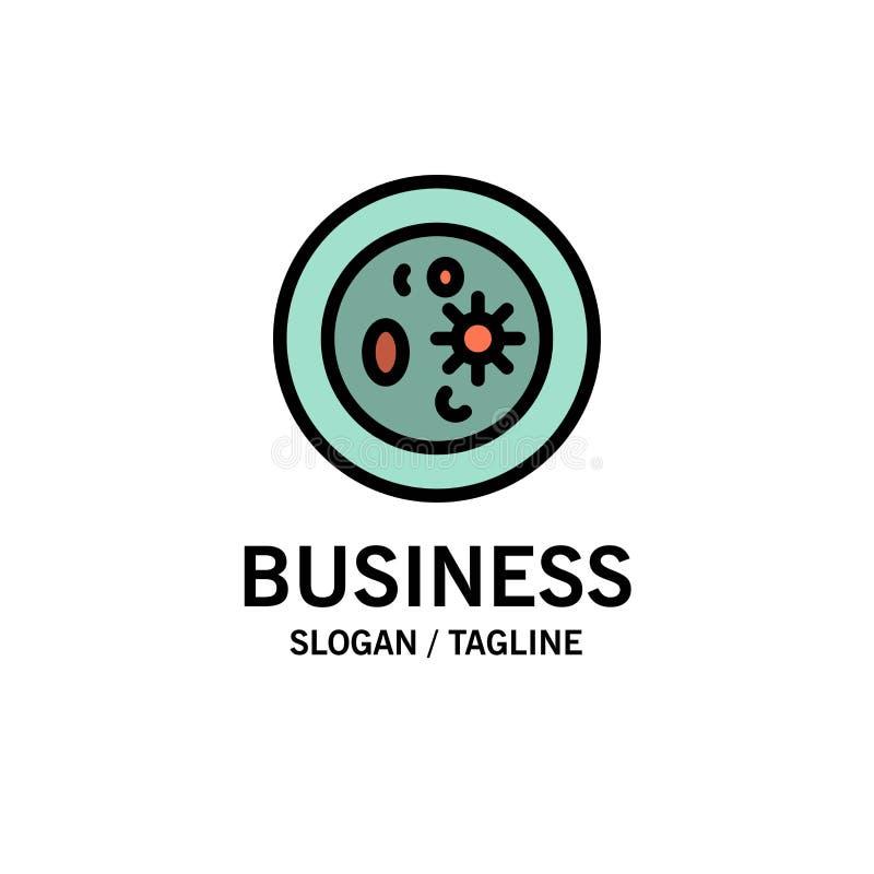 Biochemie, Biologie, Chemie, Teller, Laborgeschäft Logo Template flache Farbe stock abbildung