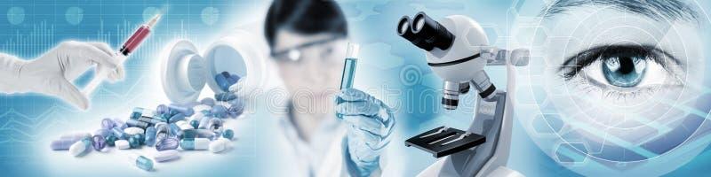Biochemie en farmaceutisch onderzoekconcept vector illustratie