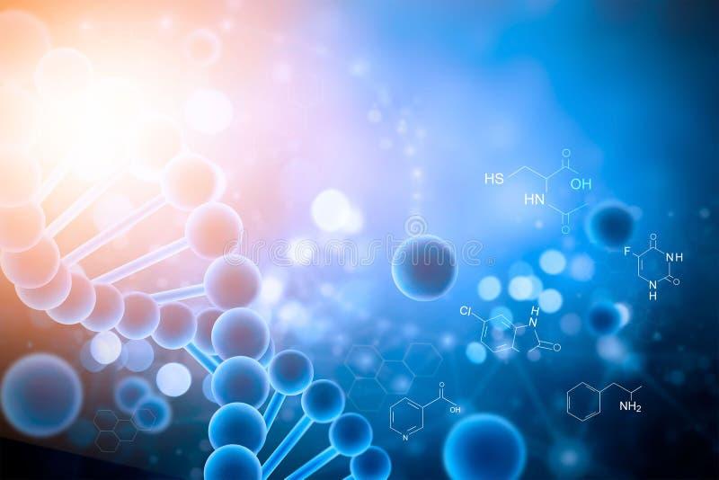 Biochemie met DNA-de structuur kleurrijke achtergrond van de moleculemolecule royalty-vrije illustratie