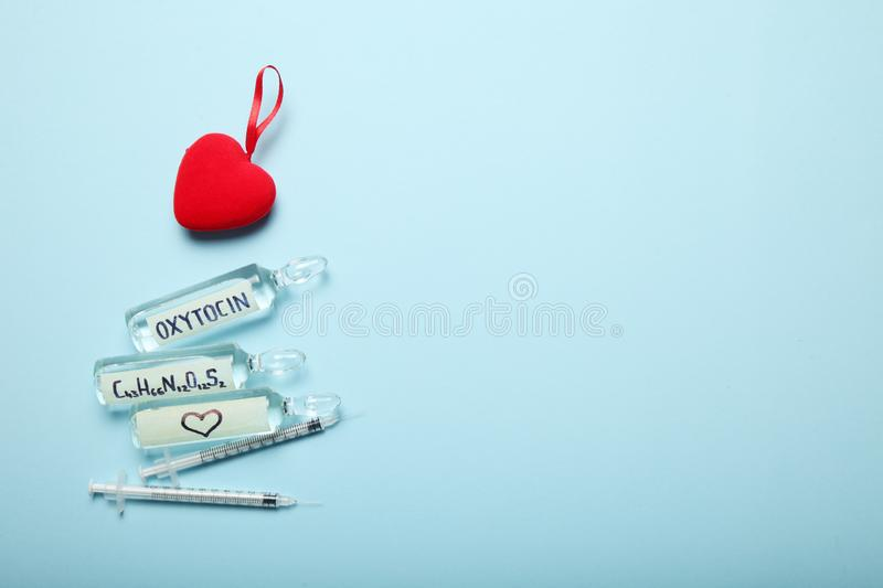 Biochemistry blood hormones, love and oxytocin. Copy space for text stock photos