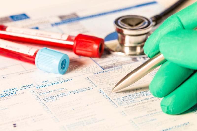 Biochemistry blood tests. Form to fill in the results of biochemistry blood tests stock image