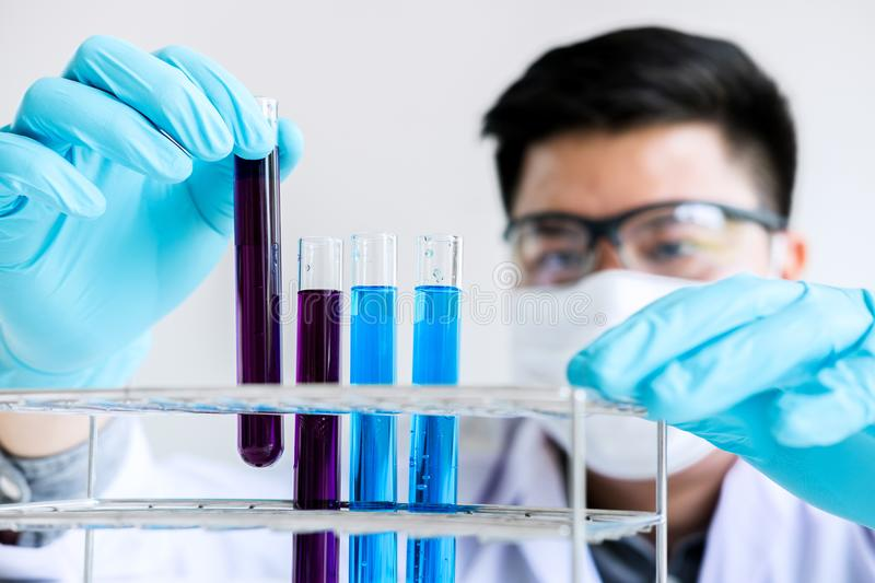 Biochemistry laboratory research, Scientist or medical in lab co royalty free stock photography