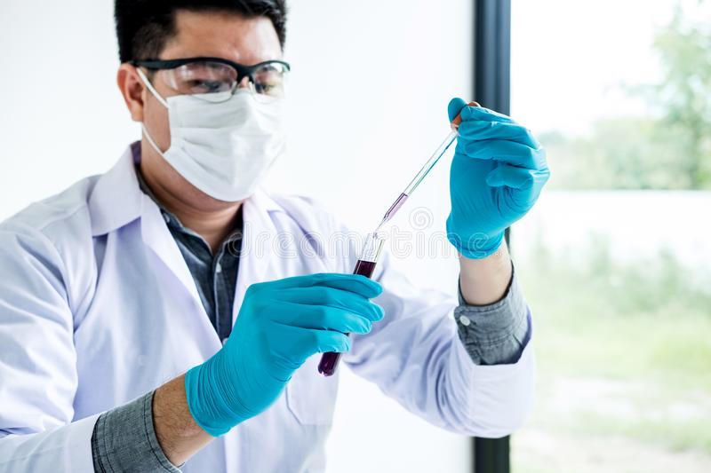 Biochemistry laboratory research, Scientist or medical in lab co stock photo