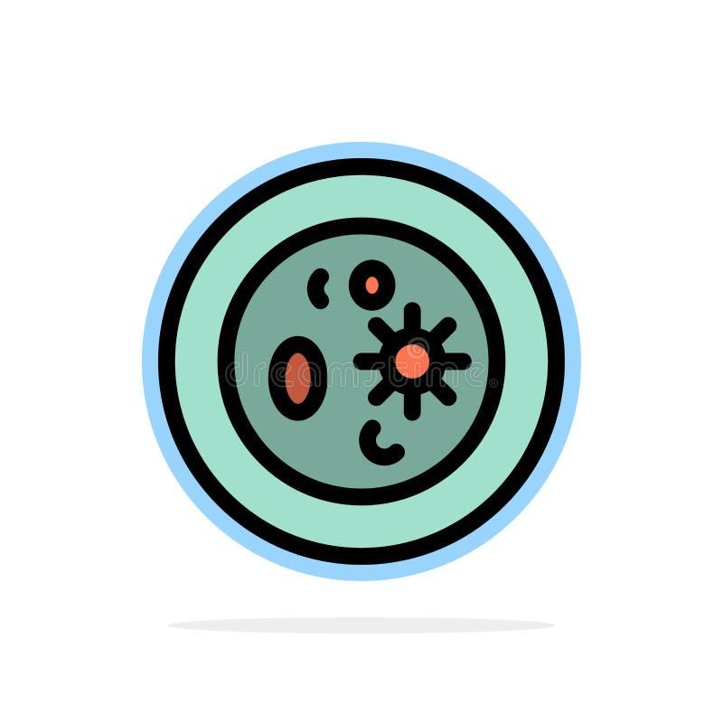 Biochimica, biologia, chimica, piatto, icona piana di colore del fondo del cerchio dell'estratto del laboratorio illustrazione vettoriale