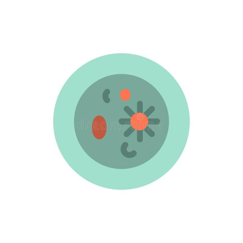 Biochimica, biologia, chimica, piatto, icona piana di colore del laboratorio Modello dell'insegna dell'icona di vettore illustrazione di stock