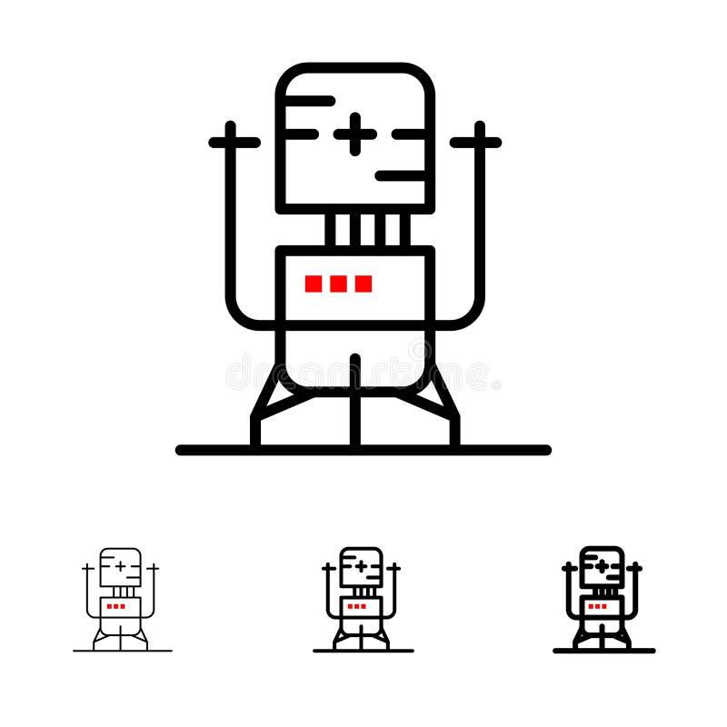 Biochip, Bot, framtid, maskin, medicinsk djärv och tunn svart linje symbolsuppsättning vektor illustrationer