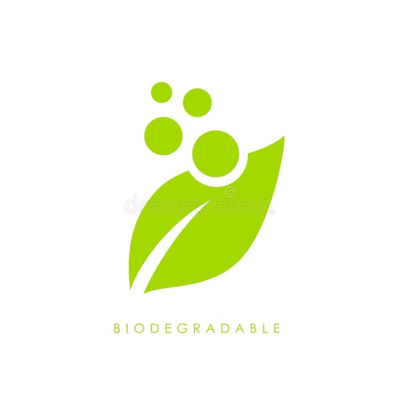 Biodegradable зеленый логотип вектора лист иллюстрация штока