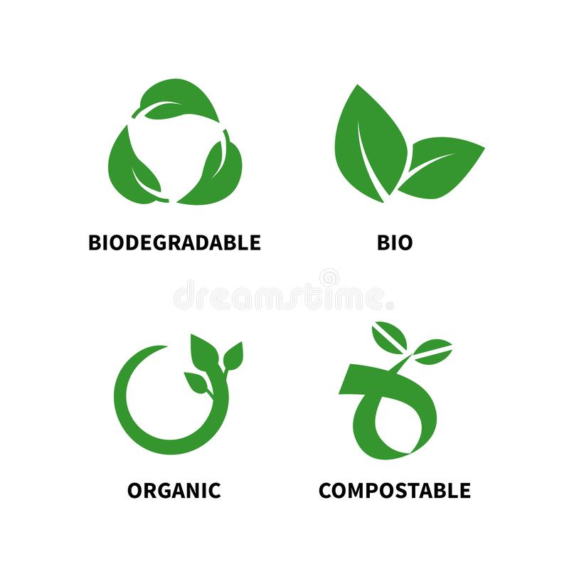 Biodegradable and compostable concept reduce reuse recycle vector illustration. Isolated on white background stock illustration